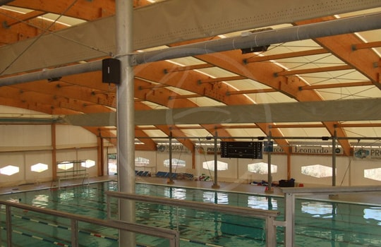 Wooden arch covering structure for swimming pool - Rome ( italy )