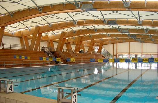 Copertura piscina travi legno lamellare