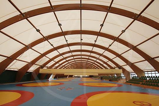 Tenso-structure en bois lamellé 100x30 mètres