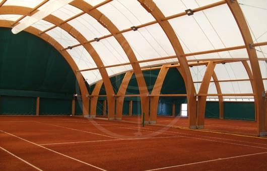 struttura in legno lamellare ad archi intersecati