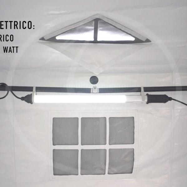 Zelt mit selbstaufblasendem Drucklufttragwerk ''TAG'' - Beleuchtung