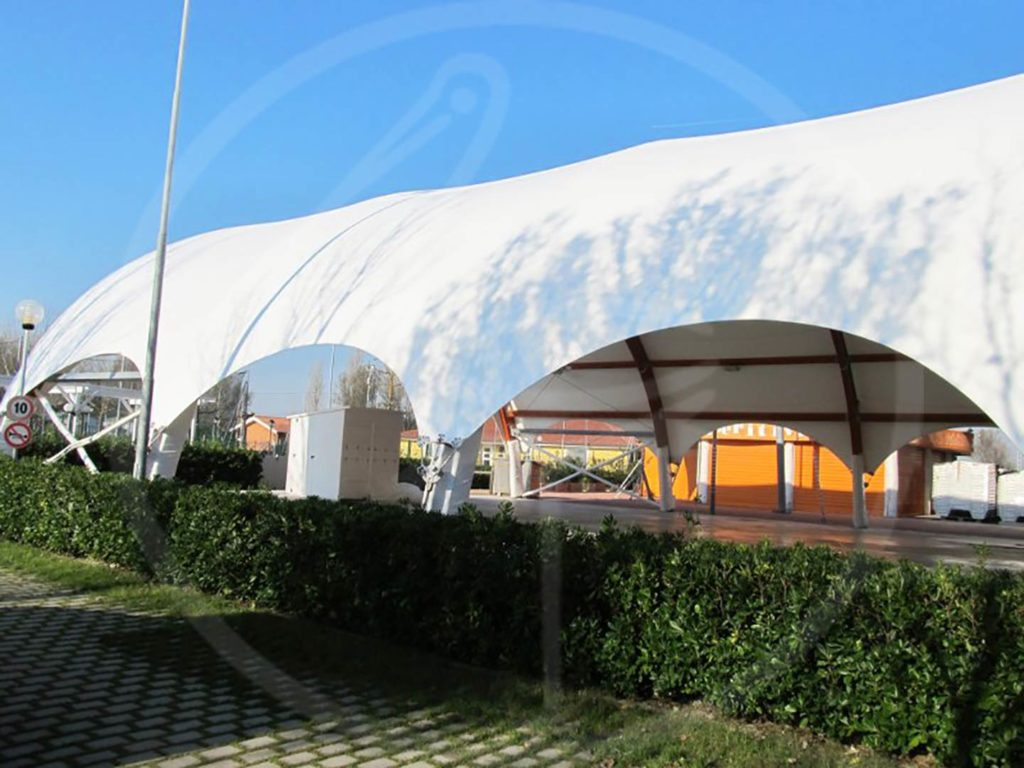 Wooden tent theater for a touristic village